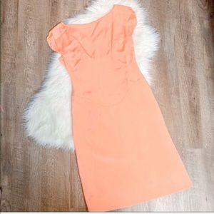Oscar De La Renta peach cocktail dress